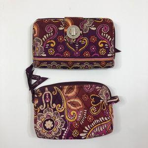 Vera Bradley Safari Sunset Wallet & Cosmetic Bag